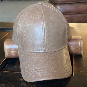 CC Brand Faux Leather baseball hat.